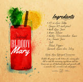 Bloody mary cocktails watercolor kraft. Bloody mary cocktails drawn watercolor blots and stains with a spray, including recipes and ingredients on the background Royalty Free Stock Photo