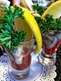 Bloody mary de cocktail avec des huîtres Photo libre de droits