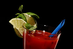 Bloody mary fresh Coctail isolated on black Royalty Free Stock Photos