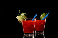 Bloody mary fresh Coctail isolated on black Stock Photo