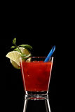 Bloody mary fresh Coctail isolated on black Stock Photos