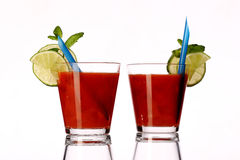 Bloody mary fresh Coctail isolated on white Stock Photos