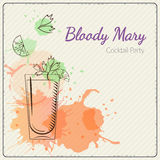 Bloody Mary. Hand drawn vector illustration of cocktail. Colorful watercolor background Stock Images