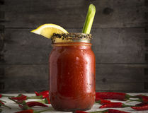 Bloody Mary in Mason Jar Royalty Free Stock Photo