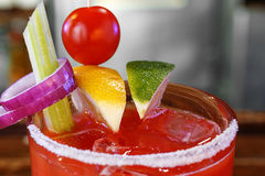 Bloody Mary na borda salgado de um vidro Imagem de Stock Royalty Free