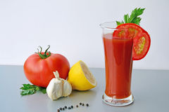 Bloody Mary tomato juice cocktail. Bloody Mary cocktail and ingredients on the table Stock Photo