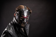 Bloody murderer in hockey mask portrait Royalty Free Stock Photography