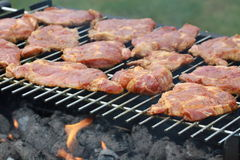 Bloody neck on barbecue Stock Photo