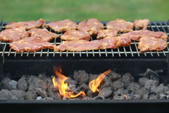 Bloody neck on grill Royalty Free Stock Photo