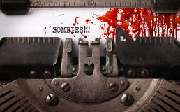Bloody note - Vintage inscription made by old typewriter Stock Images