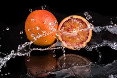 Bloody orange whole and halves, slices with reflection on white and black background in a spray of water.  stock photography