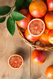 Bloody oranges in a basket Royalty Free Stock Photo