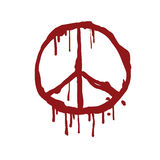 Bloody Peace Sign Vector Illustration. Icon Red Blood Blots Stock Image