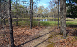 Bloody Pond at Shiloh NMP. Confederate and Union wounded gathered at this pond after the first day of the Battle of Shiloh. Their blood stained it red Stock Photo