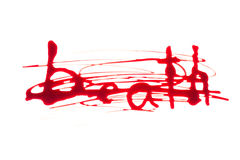 Bloody print on a white background with the letters Royalty Free Stock Image