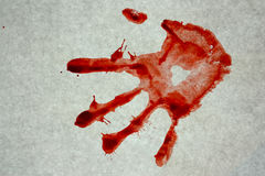 Bloody prints on a gray background stock photo