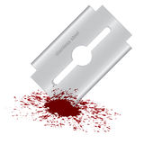 Bloody razor blade Royalty Free Stock Image
