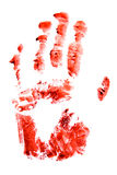 Bloody red hand and fingers print Royalty Free Stock Image