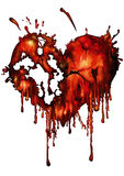Bloody red heart. Illustration bloody red heart heart with smudges Stock Photos