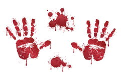 Bloody red horror handprints and blood drops Royalty Free Stock Image
