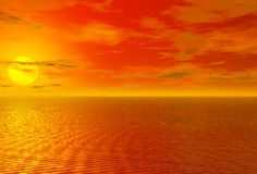 Bloody red sunset over ocean and cloudy sky Royalty Free Stock Images