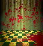 Bloody room. Bloody grunge room with dirty checkered floor Stock Images