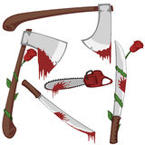 Bloody set of weapons. Variations of bloody axes, machetes and a chainsaw Stock Photography