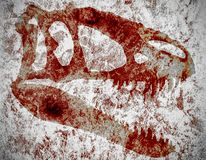 Bloody skull of tyrannosaur royalty free stock photos