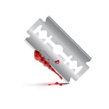 Bloody stainless blade on isolate background. Illustrator of bloody stainless blade with shadow on isolate background Vector Illustration