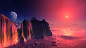 Bloody sunset on alien planet. In the dark starry sky a big planet. The bright red sun sets behind a misty horizon, coloring the rocky desert landscape in blood stock footage