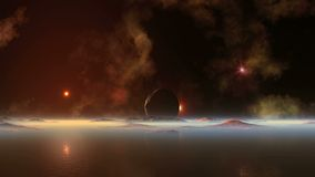 Bloody sunset on alien planet. On the huge dark sky bright stars and nebula. The sun in the red halo is moving rapidly to the hazy horizon. Dark moon hangs over stock illustration