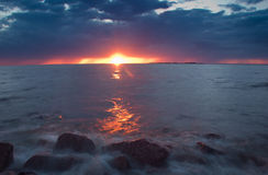 Bloody sunset on the Baltic sea Stock Photos