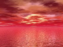 Bloody sunset or sunrise Stock Image