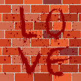 Bloody text on brick wall Stock Image