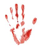 Bloody trace image. The bloody print left by a hand of the person. The image is isolated and placed on a white background Stock Image