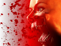 Bloody Vampire Mouth. A very scary vampire face for Halloween Stock Images