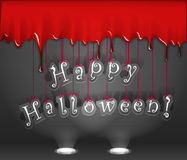 Bloody wall and paper letters. Happy Halloween. Celebration poster of bloody wall and paper letters Stock Image