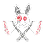 Bloody White Rabbit Axe Royalty Free Stock Photo