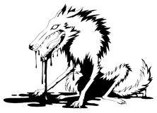 Bloody Wolf. Black and white vector, horizontal,  isolated Stock Photography
