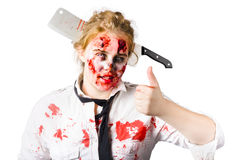 Bloody woman with cleaver in head Royalty Free Stock Photo