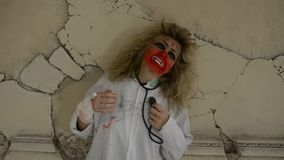 Bloody wooman medical zombie stock video