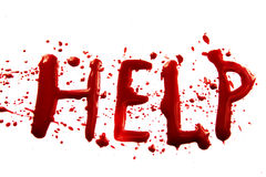 Bloody word Help. With splatters, dropplets, stains isolated on white backround Stock Photography