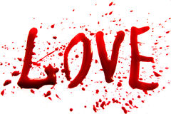 Bloody word Love Stock Photography