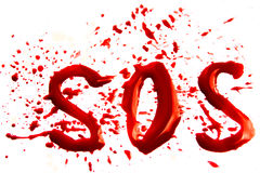 Bloody word SOS. With splatter, droplets, stains isolated on white background Royalty Free Stock Image