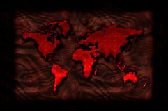 Bloody world map illustration. Bloody and grungy blood dripping illustration of a world map on a framed grungy background Stock Photos