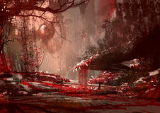 Bloodyland,horror landscape, illustration. Digital paintng Royalty Free Stock Image
