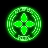 Bloom BLT accepted here sign. Bloom BLT green  neon cryptocurrency symbol in round frame with text `Accepted here Stock Photos