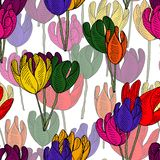 A bloom of bright tulips. vector illustration