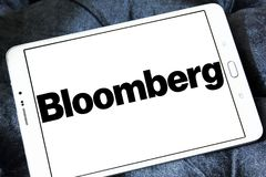 Bloomberg company logo. Logo of Bloomberg company on samsung tablet. Bloomberg is a privately held financial software, data, and media company, provides stock photography