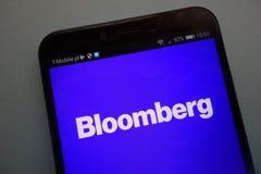 Bloomberg-embleem op smartphone royalty-vrije stock foto